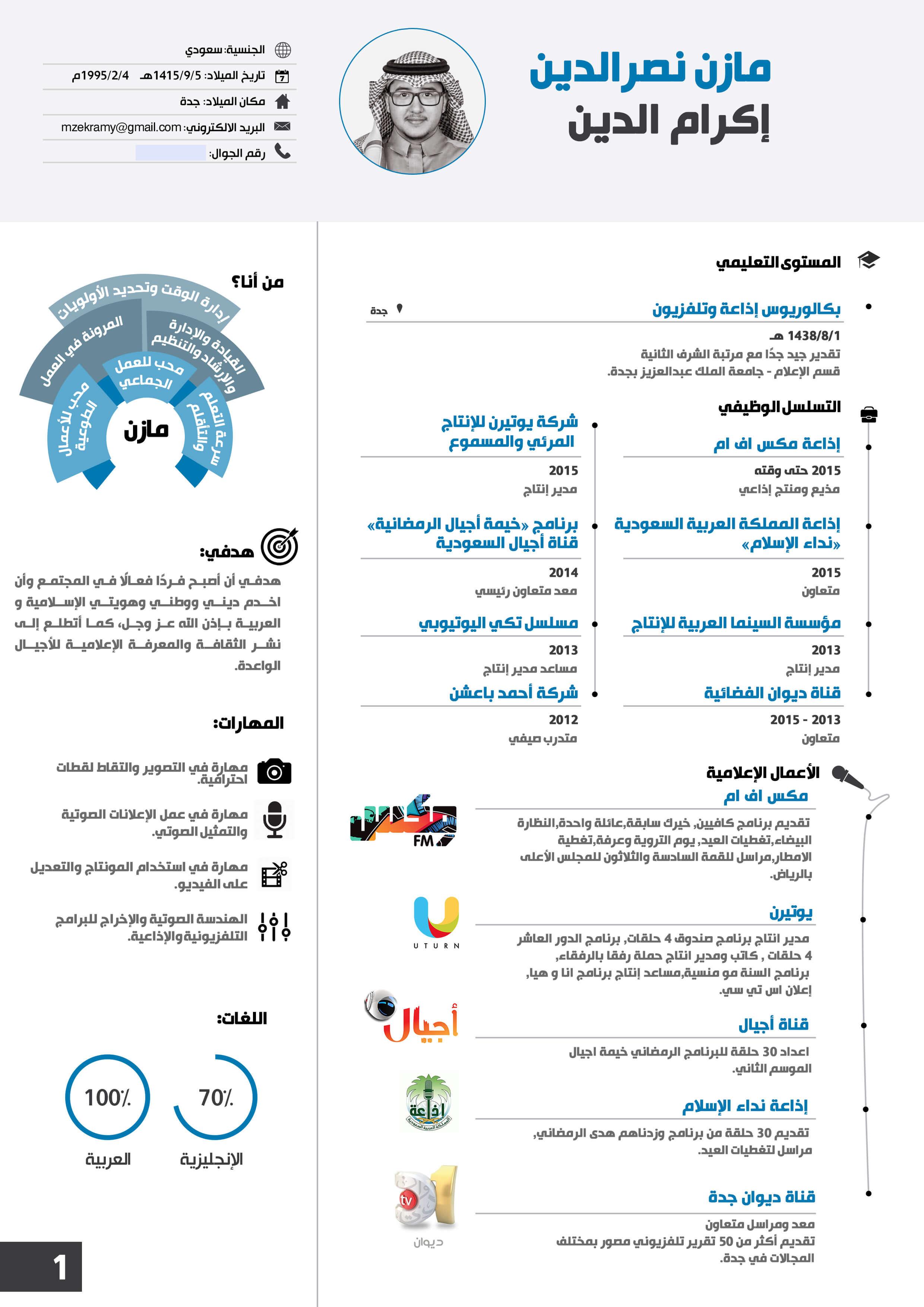 سيرة ذاتية انفوجرافيك عربي أو انجليزي